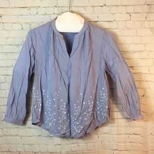 NWT Woman Within periwinkle blu tunic w embroidery